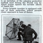 An article published in 1933 about Asbestos Umbrellas used by the Fire Brigade